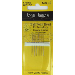 JJ10710B Ballpoint Bead Embroidery - Короткі голки для вишивки бісером з заокругленим кінцем (Розмір - 10)
