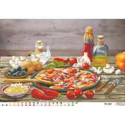 ТК087ан6443 Бісерна заготовка для вишивання схеми-картини Найсмачніша піца 64 см x 43 см