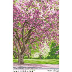 ТП020ан4161 Бісерна заготовка для вишивання схеми-картини Розквіт сакури 41 см x 61 см