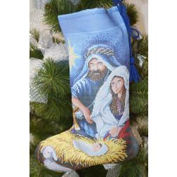 ТР161аБ3149 Пошитий новорічний чобіток для вишивання Різдвяний вечір 31 см Х 49 см