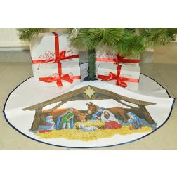 ТР162аБ9999 Пошита спідничка під ялинку для вишивання Різдвяний вечір, діаметр 100 см.