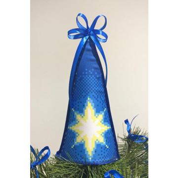 ТР234аБ1418 Пошита новорічна верхівка на ялинку для вишивання Різдвяна зірка 14см х 18см
