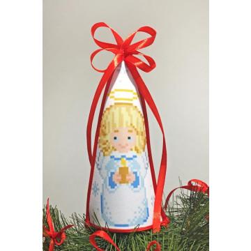 ТР236аБ1418 Пошита новорічна верхівка на ялинку для вишивання Різдвяний ангел 14см х 18см