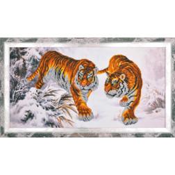 Картина вишита бісером Барвиста Вишиванка Уссурійські тигри 72х42 АА005ан6535