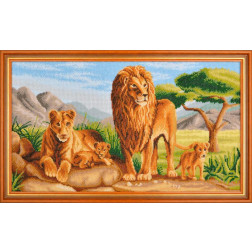 Картина вишита бісером Барвиста Вишиванка Сімейство левів 67х41 АА013ан6335