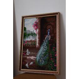 Картина вишита бісером Барвиста Вишиванка  Розкішний павич 53х75 АА014ан5375