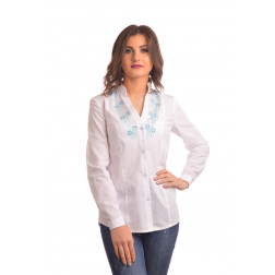 Блузка-вишиванка жіноча вишита машинною вишивкою хрестиком АЖ341хБ4403_017