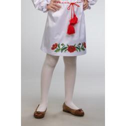 Заготовка дитячої спіднички – вишиванки на 3-5 років Тендітні маки для вишивки бісером БС004кБ28нн