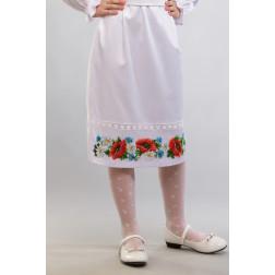 Заготовка дитячої спіднички – вишиванки на 3-5 років Маки, ромашки, волошки для вишивки бісером БС011кБ28нн