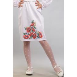 Заготовка дитячої спіднички – вишиванки на 3-5 років Червоні маки, ромашки, колоски для вишивки бісером БС012кБ28нн