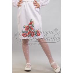 Набір бісеру Preciosa для вишивки бісером до заготовки дитячої спіднички – вишиванки на 3-5 років Червоні маки, ромашки, колоски БС012дБ28ннb
