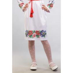 Заготовка дитячої спіднички – вишиванки на 3-5 років Мальви, троянди, братки для вишивки бісером БС013кБ28нн