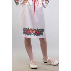 Заготовка дитячої спіднички – вишиванки на 3-5 років Лілеї, троянди, незабудки для вишивки бісером БС014кБ28нн