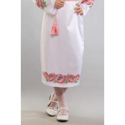 Заготовка дитячої спіднички – вишиванки на 3-5 років Маки рожеві для вишивки бісером БС015кБ28нн