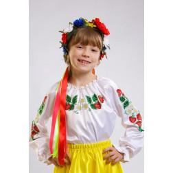 Набір бісеру Preciosa для вишивки бісером до заготовки дитячої блузки – вишиванки на 1-3 років Сунички БД001пБ28ннb