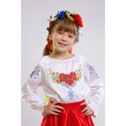 Набір бісеру Preciosa для вишивки бісером до заготовки дитячої блузки – вишиванки на 1-3 років Маки орнамент БД003пБ28ннb