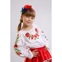 Набір бісеру Preciosa для вишивки бісером до заготовки дитячої блузки – вишиванки на 1-3 років Тендітні маки БД004пБ28ннb