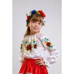 Набір бісеру Preciosa для вишивки бісером до заготовки дитячої блузки – вишиванки на 1-3 років Ніжні маки, волошки, колоски БД005пБ28ннb