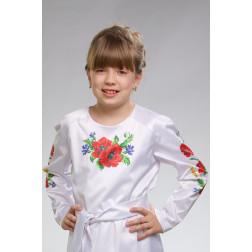 Набір ниток DMC для вишивки хрестиком до заготовки дитячої блузки – вишиванки на 1-3 років Маки, волошки, колоски БД010кБ28ннh