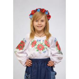 Набір ниток DMC для вишивки хрестиком до заготовки дитячої блузки – вишиванки на 1-3 років Маки, ромашки, волошки БД011кБ28ннh