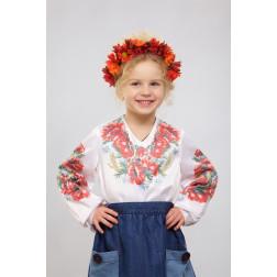 Набір ниток DMC для вишивки хрестиком до заготовки дитячої блузки – вишиванки на 1-3 років Червоні маки, ромашки, колоски БД012кБ28ннh
