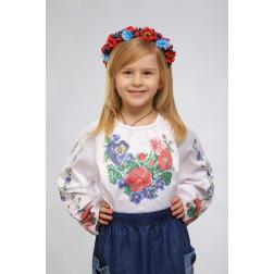 Набір ниток DMC для вишивки хрестиком до заготовки дитячої блузки – вишиванки на 1-3 років Мальви, троянди, братки БД013кБ28ннh