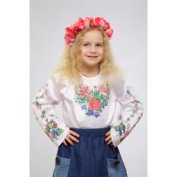 Набір ниток DMC для вишивки хрестиком до заготовки дитячої блузки – вишиванки на 1-3 років Лілеї, троянди, незабудки БД014кБ28ннh