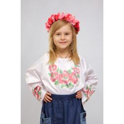 Набір ниток DMC для вишивки хрестиком до заготовки дитячої блузки – вишиванки на 1-3 років Маки рожеві БД015кБ28ннh