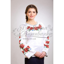Набір бісеру Preciosa для вишивки бісером до заготовки жіночої блузки – вишиванки Маки, волошки БЖ003дБннннb