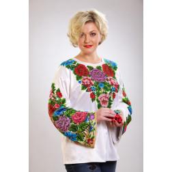 Заготовка жіночої вишиванки Розкішні квіти. Буковинська для вишивки бісером БЖ006кБнннн