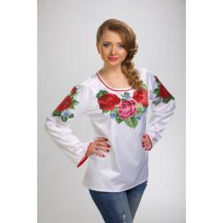 Заготовка жіночої вишиванки Королівські троянди, фіалки для вишивки бісером БЖ007кБнннн