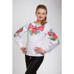 Заготовка жіночої вишиванки Пишні троянди, фіалки для вишивки бісером БЖ008кБнннн