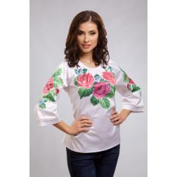 Заготовка жіночої вишиванки Рожеві троянди, фіалки для вишивки бісером БЖ009кБнннн