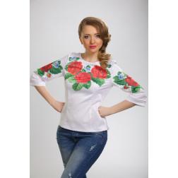 Заготовка жіночої вишиванки Пристрасні троянди, фіалки для вишивки бісером БЖ011кБнннн