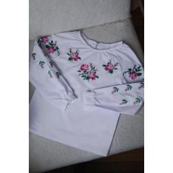 Блузка-вишиванка для дівчаток вишита машинною вишивкою хрестиком ДБ601хБ2801