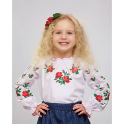 Блузка-вишиванка для дівчаток вишита машинною вишивкою хрестиком ДБ602хБ2601
