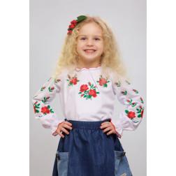 Блузка-вишиванка для дівчаток вишита машинною вишивкою хрестиком ДБ602хБ3001