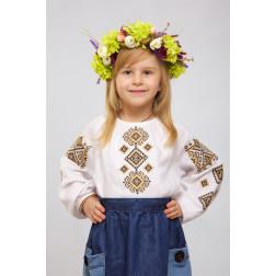 Блузка-вишиванка для дівчаток вишита машинною вишивкою хрестиком ДБ643лБ3001