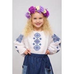Блузка-вишиванка для дівчаток вишита машинною вишивкою хрестиком ДБ644лБ3401