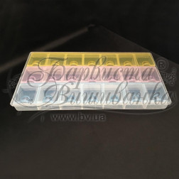 Органайзер кольоровий для бісеру (21 ячейок) 21х11,5х2,5см РУ041оХ2112
