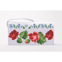 Набір для вишивки нитками Барвиста Вишиванка заготовки пошитого клатча Троянди і незабудки КЛ004пБ1301i