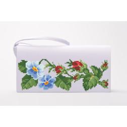 Набір для вишивки бісером Барвиста Вишиванка заготовки пошитого клатча Королівські троянди, фіалки КЛ007кБ1301k