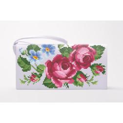 Заготовка клатча Рожеві троянди, фіалки для вишивки бісером КЛ009кБ1301
