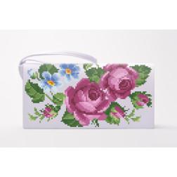 Заготовка клатча Лілові троянди, фіалки для вишивки бісером КЛ010кБ1301