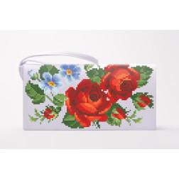 Заготовка клатча Пристрасні троянди, фіалки для вишивки бісером КЛ011кБ1301