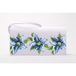 Набір ниток DMC для вишивки хрестиком до заготовки пошитого клатча Сині квіти КЛ018дБ1301h
