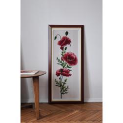 Картина вишита бісером Барвиста Вишиванка Червоні маки 49х108 КТ022ан3695