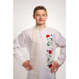 Сорочка-вишиванка чоловіча вишита машинною вишивкою гладдю ЧС601лБнн05