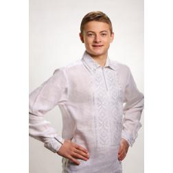 Сорочка-вишиванка чоловіча вишита машинною вишивкою гладдю ЧС605лБнн07