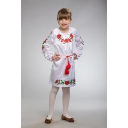 Заготовка дитячого плаття на 9-12 років Тендітні маки для вишивки бісером ПД004кБ40нн